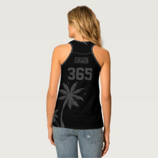 Forever Summer 365 Black Graphite Tropical Palms Tank Top