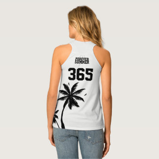 Forever Summer 365 Black on White Tropical Palms Tank Top