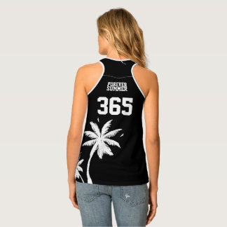 Forever Summer 365 Black & White Tropical Palms Tank Top