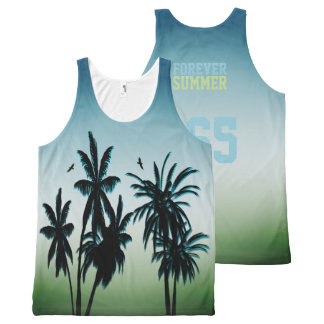 Forever Summer 365 Blue Fade Palm Trees Tropical All-Over Print Tank Top
