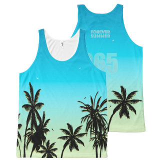 Forever Summer 365 Blue Sky Fade Palm Trees All-Over Print Tank Top