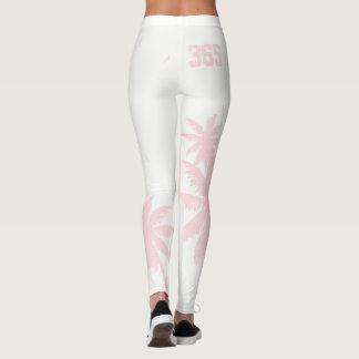 Forever Summer 365 Pink on White Tropical Palms Leggings
