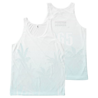 FOREVER SUMMER 365 White Ice Fade Palm Trees All-Over Print Tank Top
