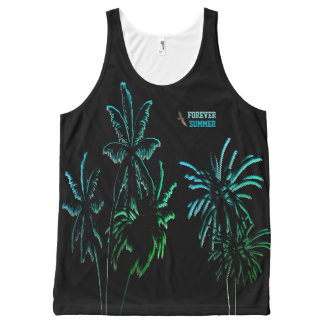 Forever Summer Night Neon Tropical Blue Palms All-Over Print Tank Top