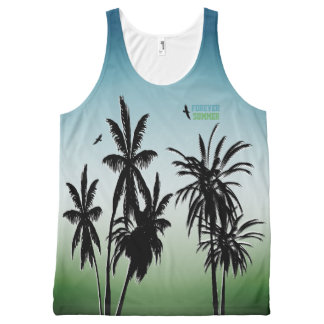 Forever Summer Teal Blue Green Fade Palm Trees All-Over Print Tank Top