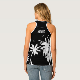 Forever Summer White Palm Trees Night Sky Black Tank Top