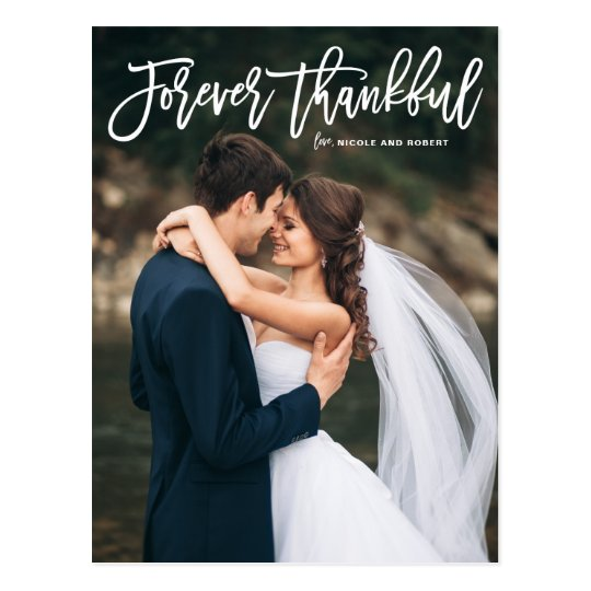Forever Thankful Lettering Wedding Thank You Postcard
