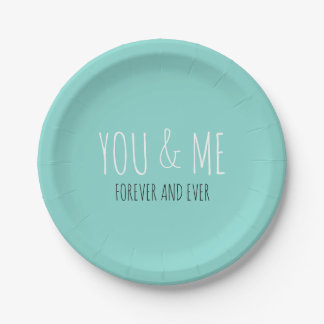 Forever You And Me Tiffany Teal Blue Plates