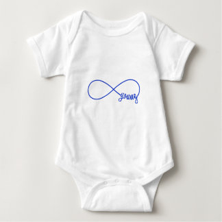 forever young, blue infinity sign baby bodysuit