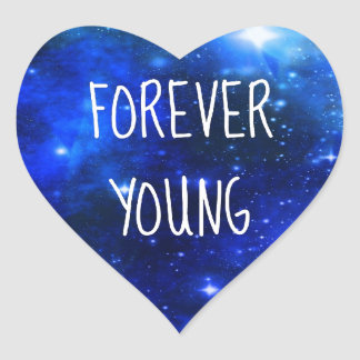 Forever Young Space Galaxy Heart Sticker