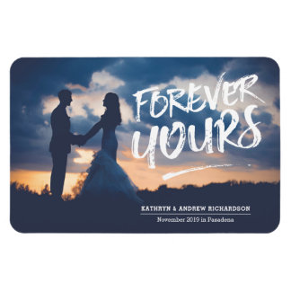 Forever Yours Dry Brush Typography Photo Template Rectangular Photo Magnet