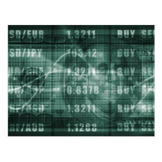 Forex Trading Online and with US Dollar Graph Postcard
