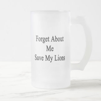 Forget About Me Save My Lions 16 Oz Frosted Glass Beer Mug