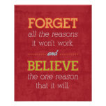 Forget all the reasons it won't work..Motivational Print