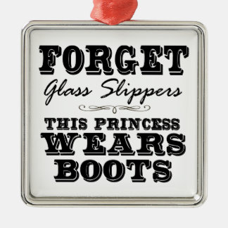 Forget Glass Slippers, This Princess Wears Boots Silver-Colored Square Decoration