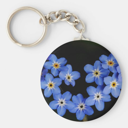 Forget me not basic round button key ring