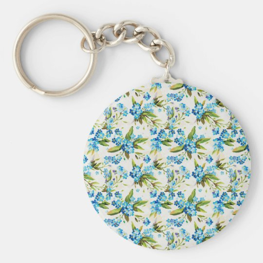 Forget-Me-Not Basic Round Button Key Ring