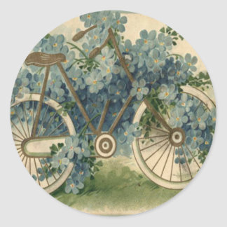 Forget Me Not Bicycle Birthday Round Sticker