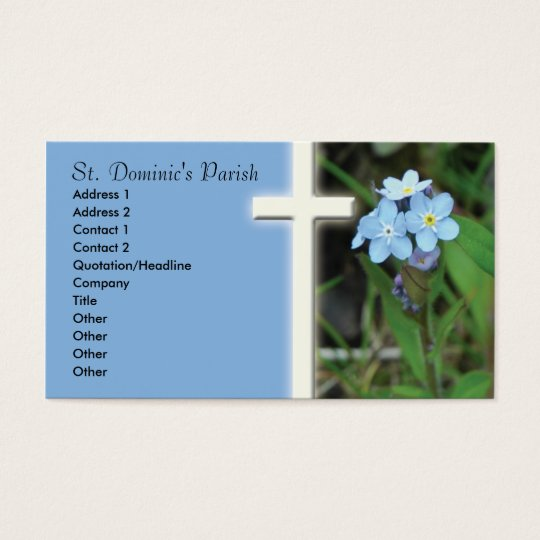 Forget Me Not Cross Christian Business Card
