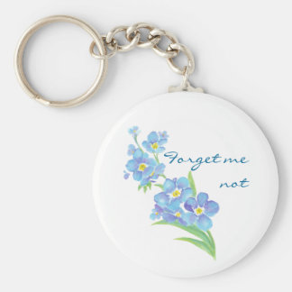 Forget me not Custom Watercolor Garden Flower Basic Round Button Key Ring