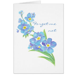 Forget me not Custom Watercolor Garden Flower Greeting Card