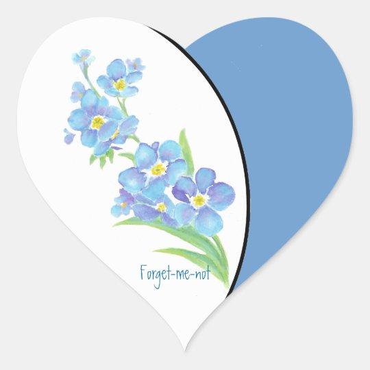 Forget me not Custom Watercolor Garden Flower Heart