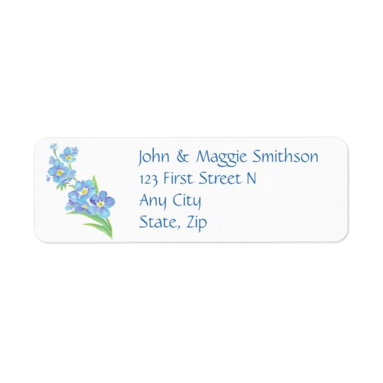 Forget me not Custom Watercolor Garden Flower Return Address Label