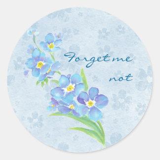 Forget me not Custom Watercolor Garden Flower Round Sticker