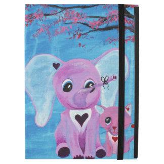 "Forget Me Not Cute Elephant Cat Cherry Blossom Art iPad Pro 12.9"" Case"
