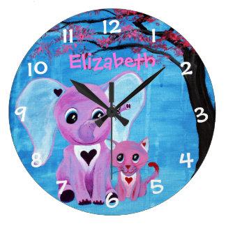 Forget Me Not Cute Elephant Cat Cherry Blossom Art Wall Clocks