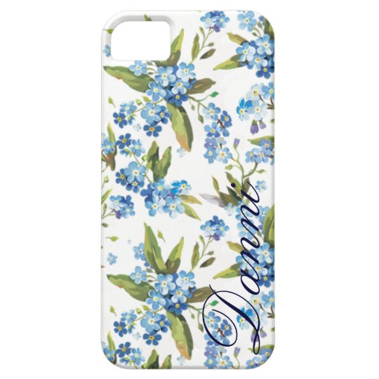 forget me not  floral custom name iphone 5 case