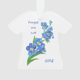 """""""Forget me Not"""" Flowers Quote Custom Dated Ornament"""