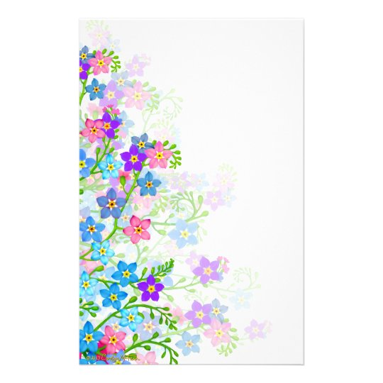 Forget Me Not Garden Flowers Stationery
