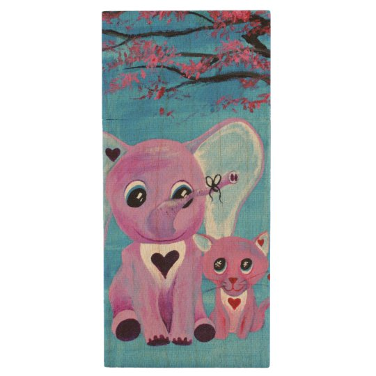 Forget Me Not Pink Elephant Cat Cherry Blossom