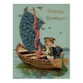 Forget Me Not Rose Sailboat Dog Puppy Postcard