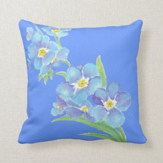 Forget me not, Watercolor Flower Garden Cushion