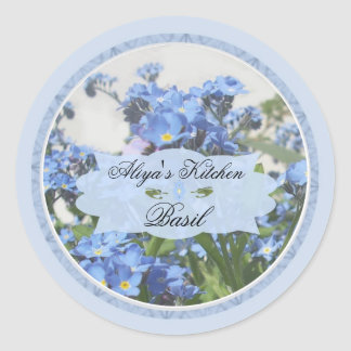 Forget me nots 1B spice jar labels Round Sticker