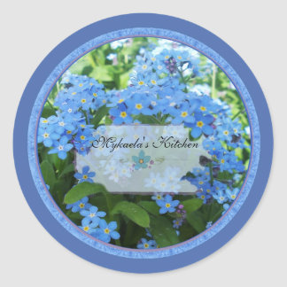 Forget me nots 2 spice jar labels round sticker