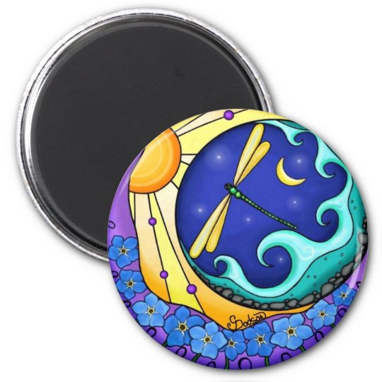 Forget Me Nots 6 Cm Round Magnet