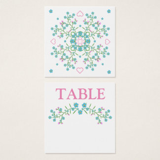 Forget-Me-Nots and Pink Hearts Table Number Card