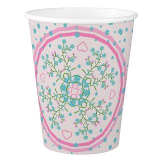 Forget-Me-Nots and Pinks Hearts Floral Mandala Paper Cup