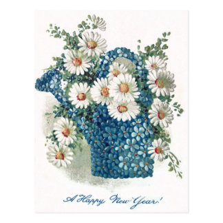 Forget-Me-Nots Daisy Watering Can Postcard