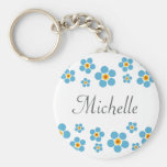 Forget me nots floral border personalised keychain