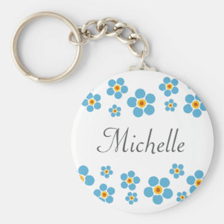 Forget me nots floral border personalized keychain