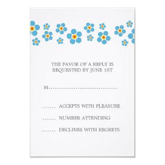 Forget me nots floral border wedding RSVP card 9 Cm X 13 Cm Invitation Card