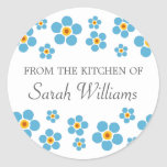 Forget me nots floral from the kitchen of labels round sticker