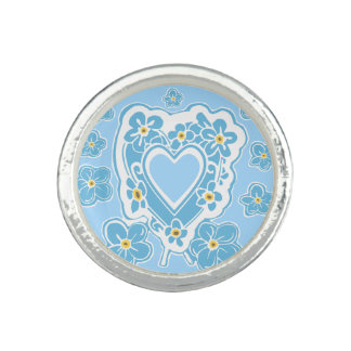 Forget-Me-Nots Flower Heart Blue Ring