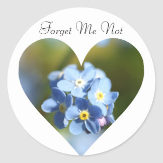 Forget Me Nots Heart Round Sticker