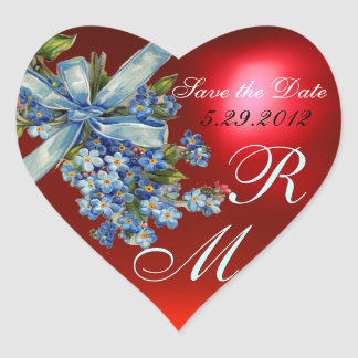 FORGET ME NOTS MONOGRAM ,WEDDING PARTY blue red Heart Sticker