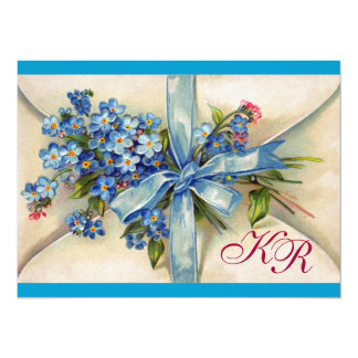FORGET ME NOTS MONOGRAM ,WEDDING PARTY blue white Card
